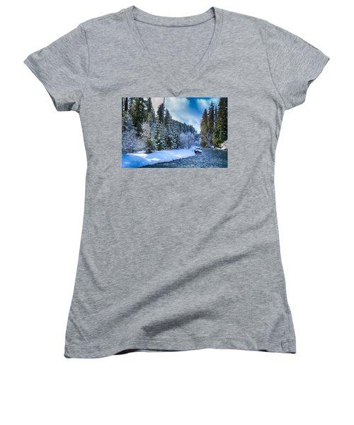 Winter Scene On The River Women's V-Neck T-Shirt (Junior Cut) by Lynn Hopwood