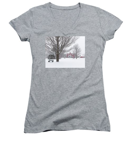Winter Scene Women's V-Neck T-Shirt (Junior Cut) by Tim Kirchoff