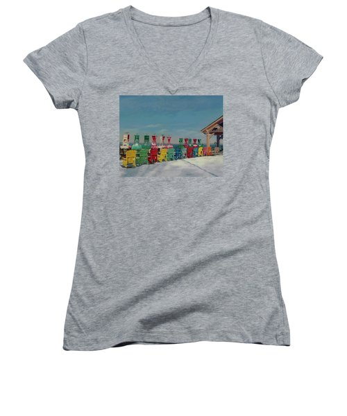 Women's V-Neck T-Shirt (Junior Cut) featuring the painting Winter Sentries by Lynne Reichhart