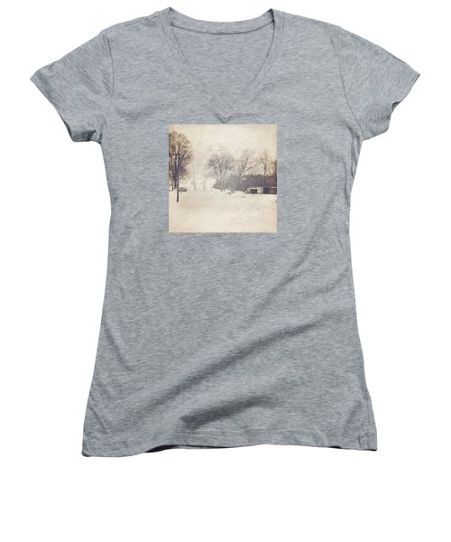 Winter Snow Storm At The Farm Women's V-Neck (Athletic Fit)