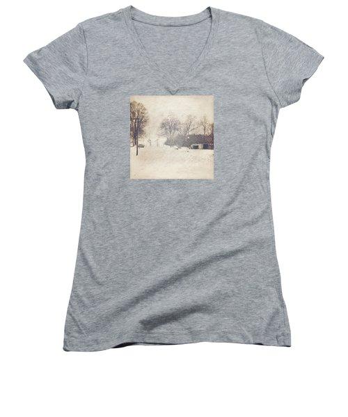 Winter Snow Storm At The Farm Women's V-Neck T-Shirt