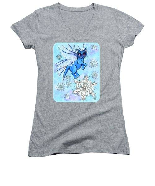 Winter Snowflake Fairy Cat Women's V-Neck T-Shirt (Junior Cut) by Carrie Hawks
