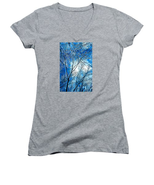 Winter Solstice Women's V-Neck T-Shirt (Junior Cut) by Michael Nowotny