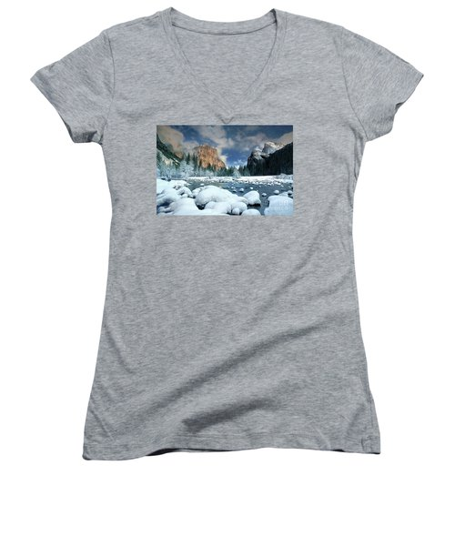 Women's V-Neck T-Shirt (Junior Cut) featuring the photograph Winter Storm In Yosemite National Park by Dave Welling