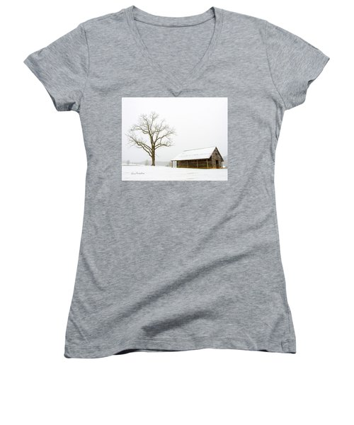 Winter Storm On The Farm Women's V-Neck T-Shirt (Junior Cut) by George Randy Bass