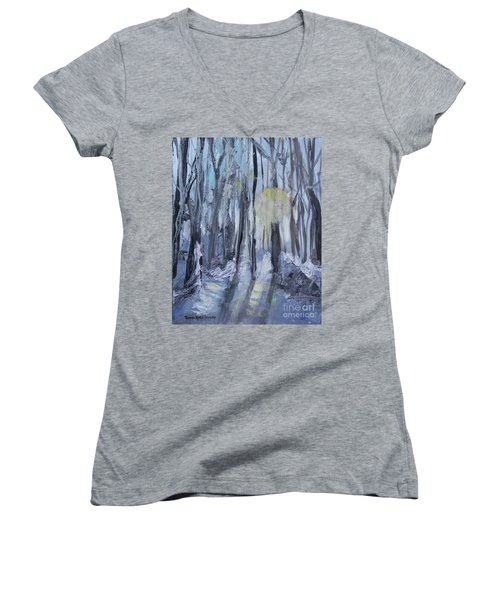 Women's V-Neck T-Shirt featuring the painting Winter Sun by Robin Maria Pedrero