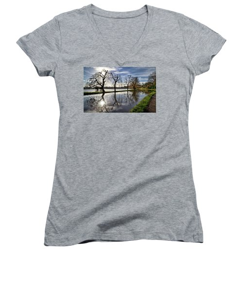 Women's V-Neck T-Shirt (Junior Cut) featuring the photograph Winter Sun by Shirley Mitchell
