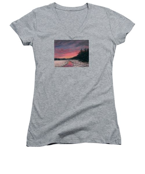 Women's V-Neck T-Shirt (Junior Cut) featuring the painting Winter Sundown by Kathleen McDermott