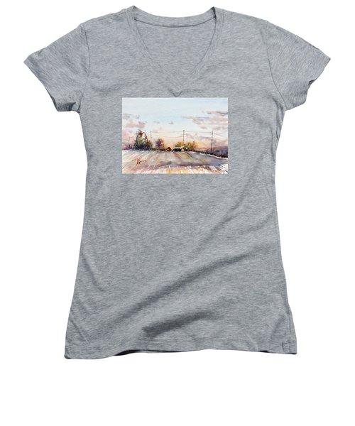 Winter Sunrise On The Lane Women's V-Neck T-Shirt