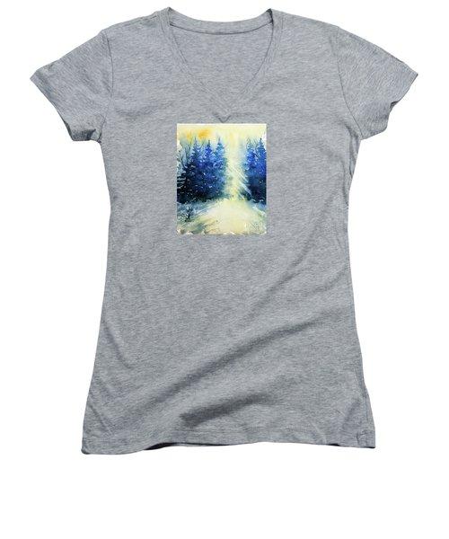 Winter Sunrise Women's V-Neck T-Shirt (Junior Cut) by Rebecca Davis