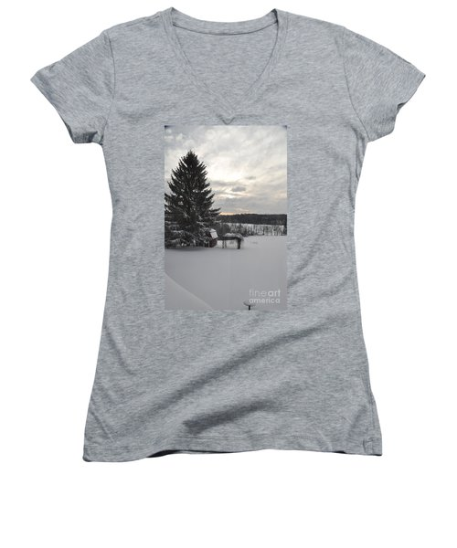 Women's V-Neck T-Shirt (Junior Cut) featuring the photograph Winter Sunset - 2 by John Black