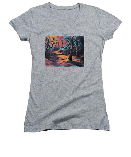 Winter Sunset Digital  Women's V-Neck T-Shirt (Junior Cut) by Megan Walsh