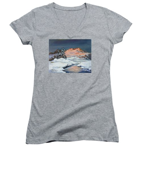 Winter Sunset In The Mountains Women's V-Neck T-Shirt (Junior Cut) by Irek Szelag