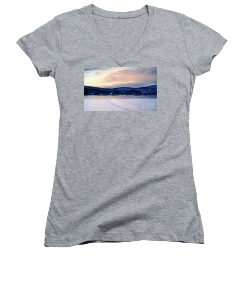 Winter Sunset On Wilson Lake In Wilton Me  -78091-78092 Women's V-Neck