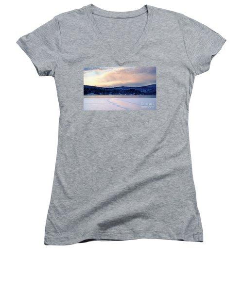 Winter Sunset On Wilson Lake In Wilton Me  -78091-78092 Women's V-Neck