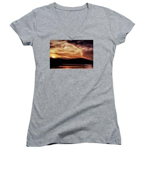 Women's V-Neck T-Shirt (Junior Cut) featuring the photograph Winter Sunset by Thomas R Fletcher