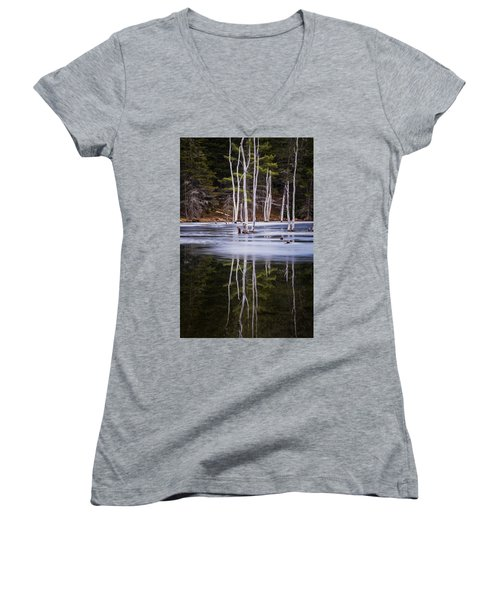 Winter Thaw Relections Women's V-Neck T-Shirt (Junior Cut) by Tom Singleton