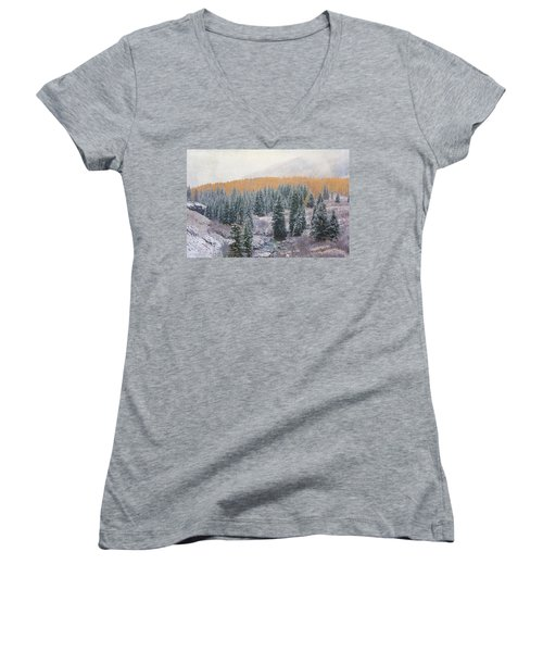 Women's V-Neck T-Shirt (Junior Cut) featuring the photograph Winter Touches The Mountain by Kristal Kraft