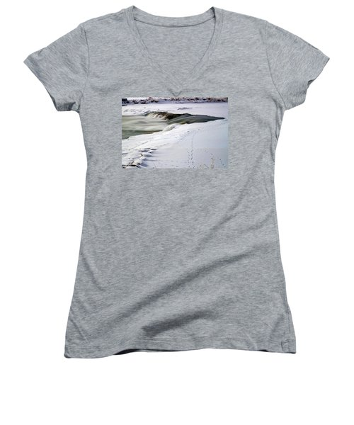 Winter Tracks Women's V-Neck T-Shirt