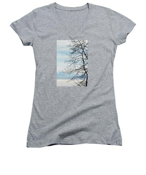 Winter Tree And Alps Mountains Upon The Fog Women's V-Neck T-Shirt (Junior Cut) by Elenarts - Elena Duvernay photo
