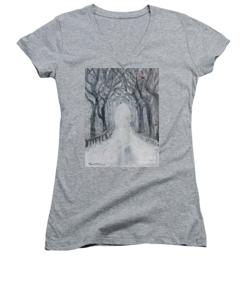 Women's V-Neck T-Shirt featuring the painting Winter Tree Tunnel by Robin Maria Pedrero