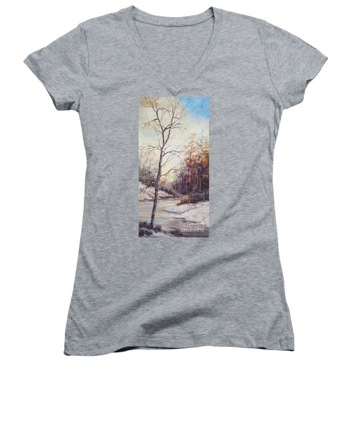 Winter Tree Women's V-Neck (Athletic Fit)