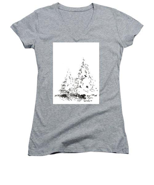 Winter Trees 1 - 2016 Women's V-Neck T-Shirt