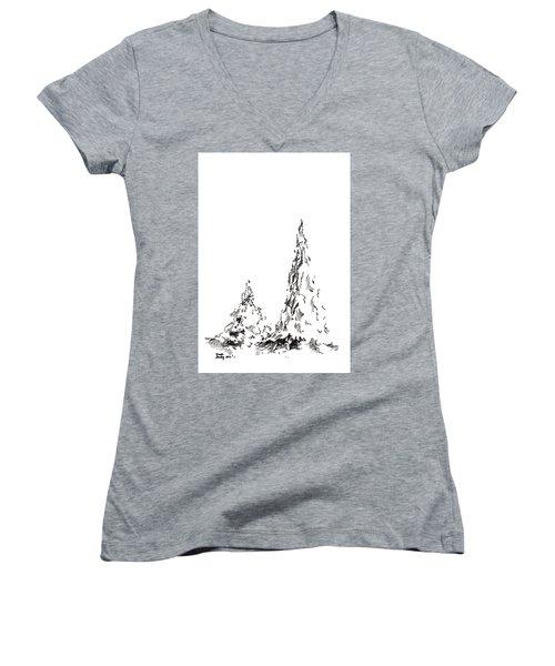 Winter Trees 2 - 2016 Women's V-Neck T-Shirt (Junior Cut) by Joseph A Langley