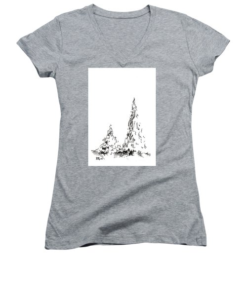 Winter Trees 2 - 2016 Women's V-Neck (Athletic Fit)
