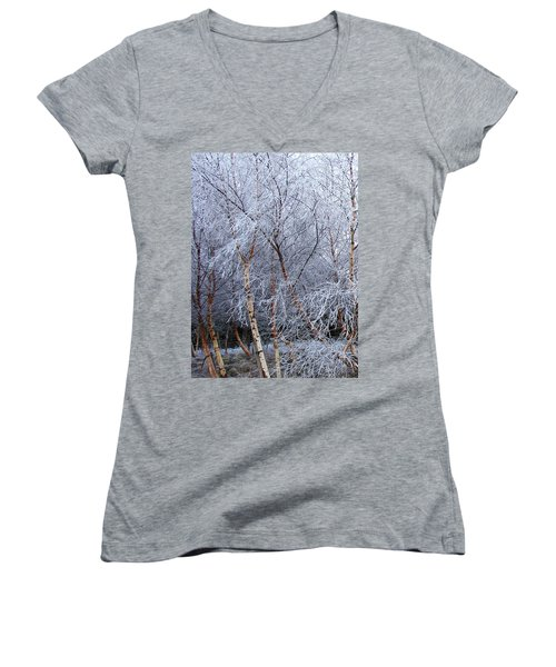 Women's V-Neck T-Shirt (Junior Cut) featuring the photograph Winter Trees by Jacqi Elmslie