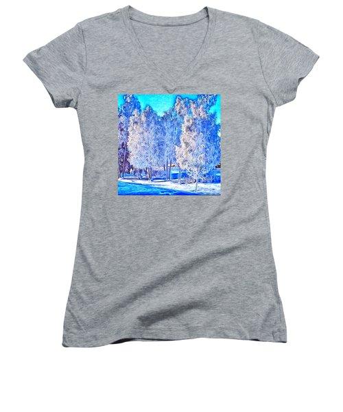 Women's V-Neck T-Shirt (Junior Cut) featuring the digital art Winter Trees by Ron Bissett