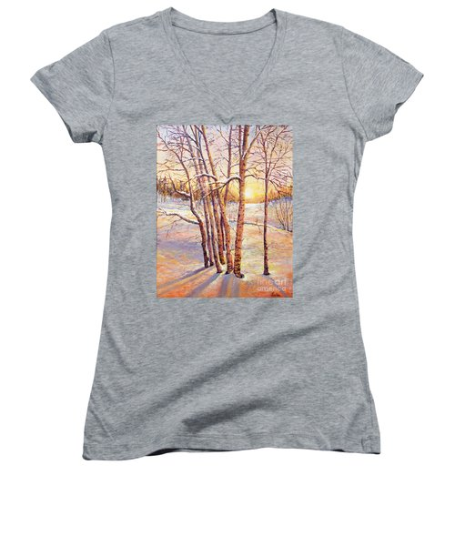 Winter Trees Sunrise Women's V-Neck T-Shirt (Junior Cut) by Lou Ann Bagnall