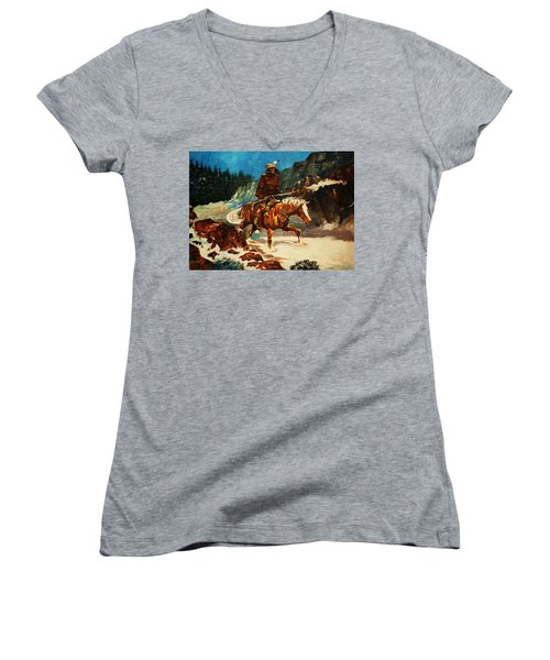 Women's V-Neck T-Shirt (Junior Cut) featuring the painting Winter Trek by Al Brown