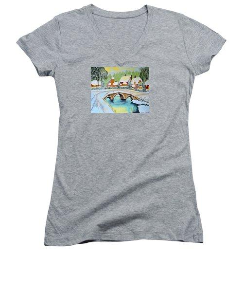 Winter Village Women's V-Neck T-Shirt (Junior Cut) by Magdalena Frohnsdorff