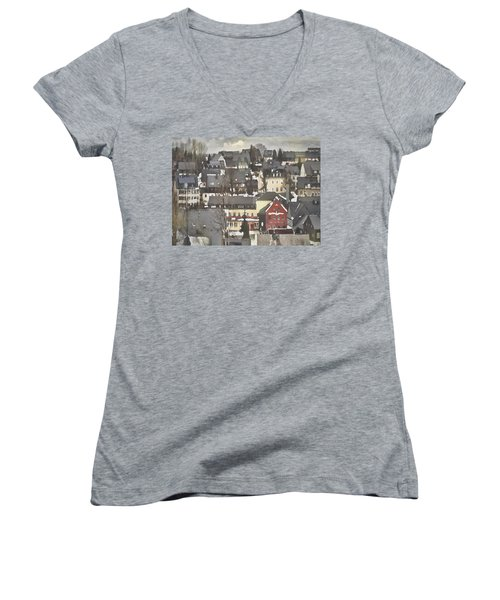 Women's V-Neck featuring the digital art Winter Village With Red House by Shelli Fitzpatrick