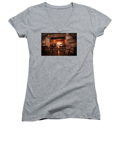 Winter Warmth Women's V-Neck T-Shirt (Junior Cut) by Karen Wiles