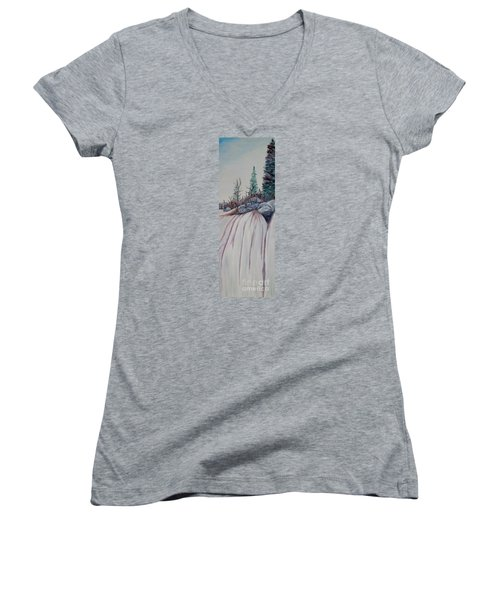 Women's V-Neck T-Shirt (Junior Cut) featuring the painting Winter Waterfall by Marilyn  McNish