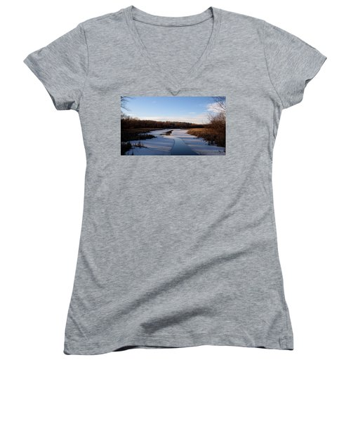 Winter Waters At Lake Kegonsa Women's V-Neck (Athletic Fit)