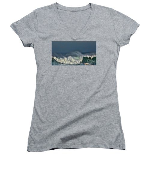 Winter Waves And Veil Women's V-Neck T-Shirt (Junior Cut) by Shirley Mangini