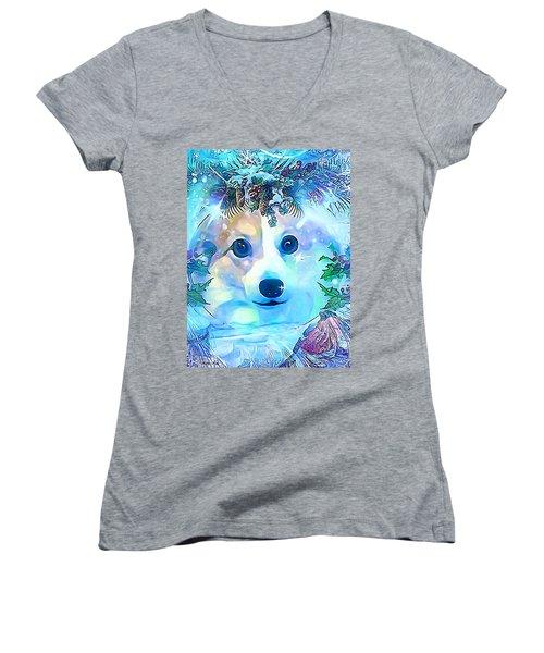 Women's V-Neck T-Shirt (Junior Cut) featuring the digital art Winter Welsh Corgi by Kathy Kelly