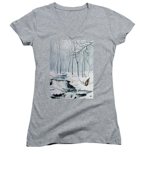 Women's V-Neck (Athletic Fit) featuring the painting Winter Whispers by Hanne Lore Koehler