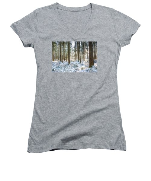 Women's V-Neck T-Shirt (Junior Cut) featuring the photograph Winter Wonderland by Hannes Cmarits