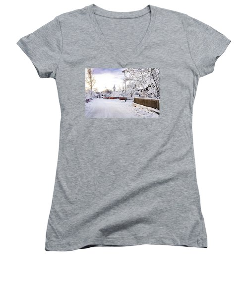 Winter Wonderland Women's V-Neck T-Shirt (Junior Cut) by Marius Sipa