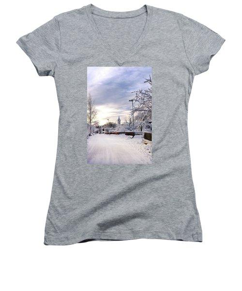 Winter Wonderland Redux Women's V-Neck T-Shirt (Junior Cut) by Marius Sipa