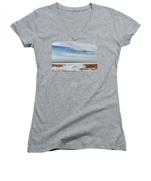 Women's V-Neck T-Shirt (Junior Cut) featuring the photograph Winter Wonderland by Tamera James