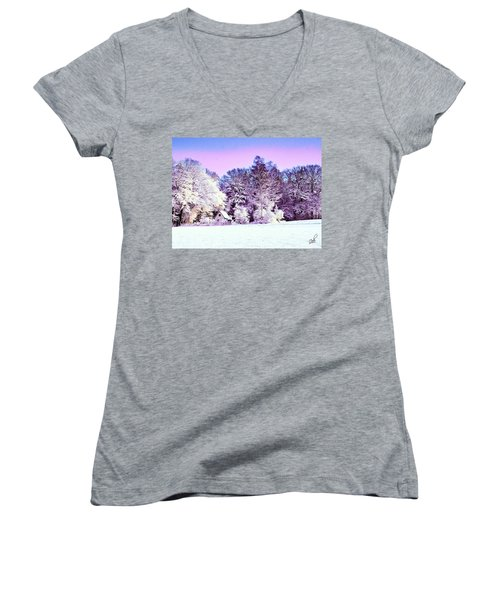 Women's V-Neck T-Shirt (Junior Cut) featuring the digital art Winter by Zedi