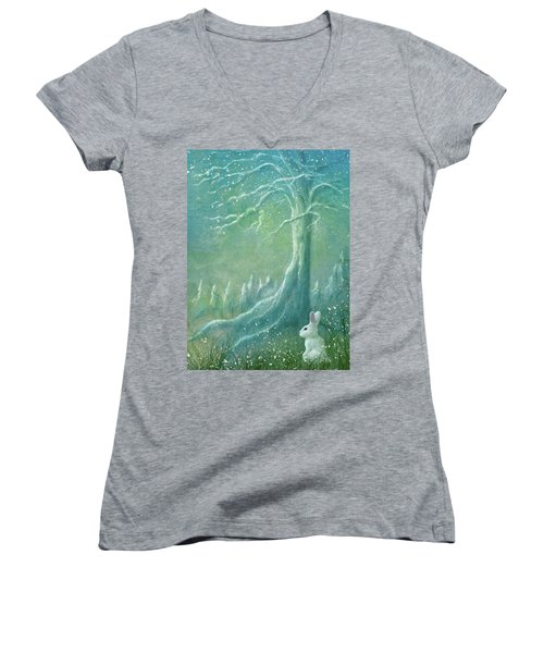 Women's V-Neck T-Shirt (Junior Cut) featuring the digital art Winters Coming by Ann Lauwers