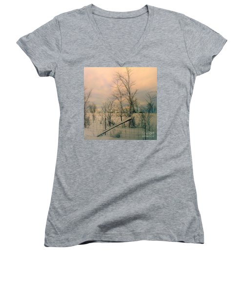 Women's V-Neck T-Shirt (Junior Cut) featuring the photograph Winter's Face by Elfriede Fulda