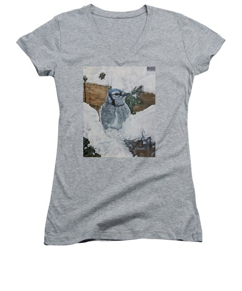 Women's V-Neck T-Shirt (Junior Cut) featuring the painting Winters Greeting by Wendy Shoults