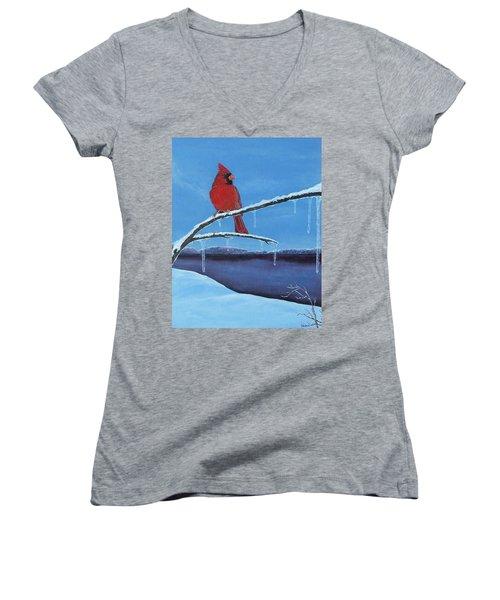 Winter's Red Women's V-Neck T-Shirt